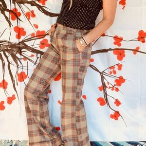 Vintage high waisted thick flannel plaid pants 6